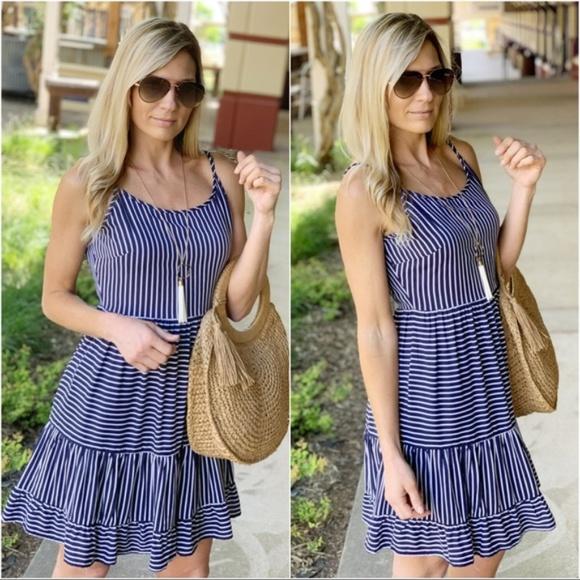 Infinity Raine Dresses & Skirts - Navy Striped Cami Dress